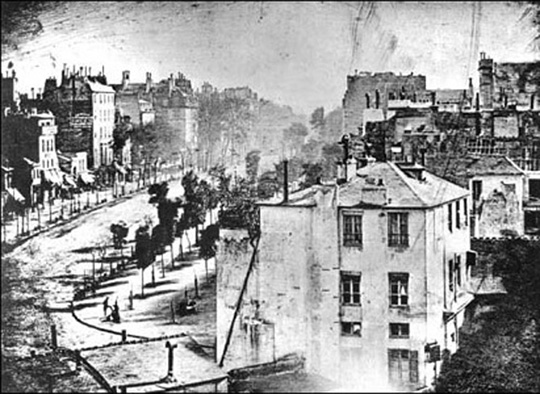 Daguerre: View of the Boulevard du Temple, Paris, 1839.