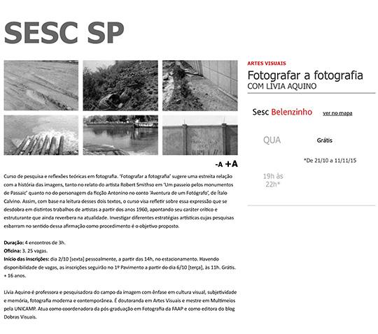 SESC SP | Aulas | Fotografar a fotografia